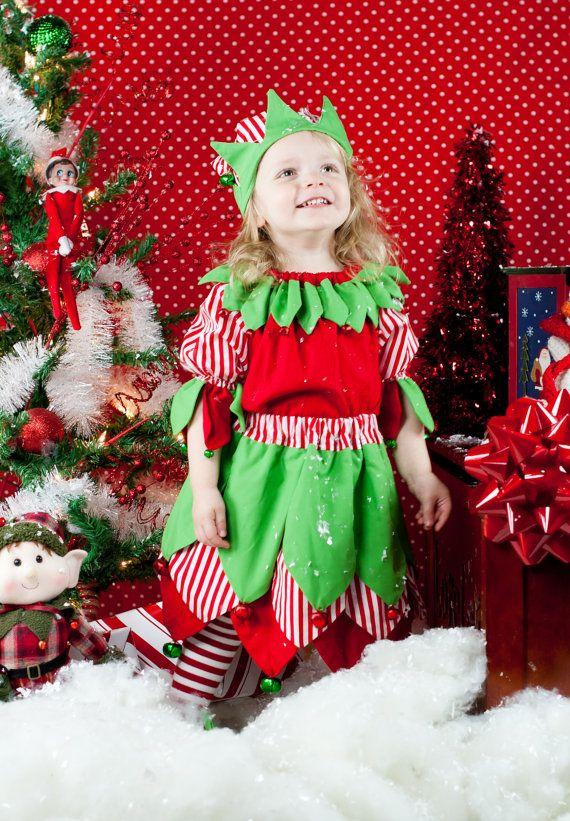Kids Elf Costume, Christmas Elf, Santas elf, Elf Peasant top, Girls elf costume, red, green, bells, skirt, Elf hat. Christmas costume