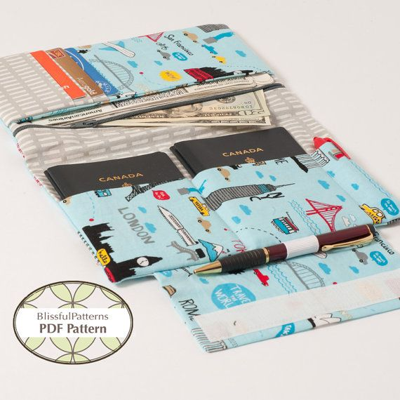 Family Size Passport Travel Holder PDF Sewing Pattern - Holds 4 Passports - INSTANT DOWNLOAD -by BlissfulPatterns