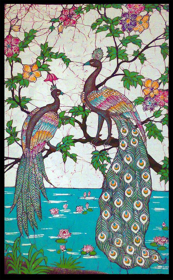 "Batik ""Peacocks near pond of lotus"" wall hanging"