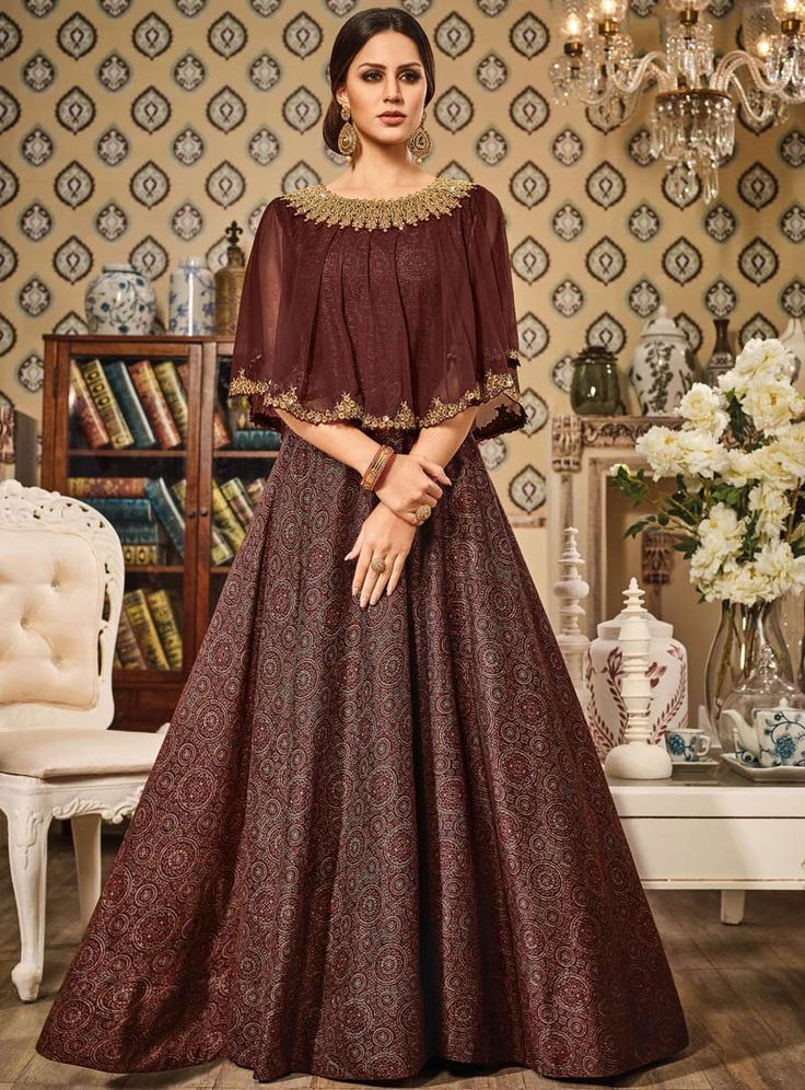Brown Silk Floor Length Anarkali Suit With Cape 89055
