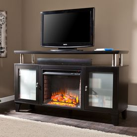 boston loft furnishings w matte black wood and metal fanforced electric fireplace with thermostat and remote control