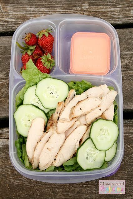 Healthy grilled chicken Caesar salad packed for lunch with @EasyLunchboxes containers