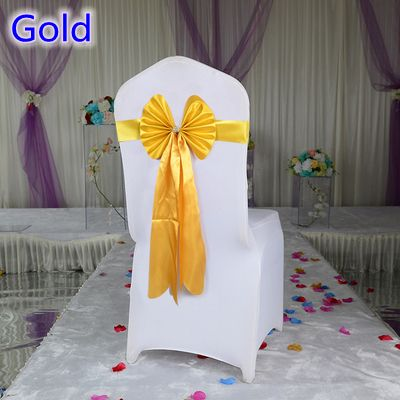 Gold colour chair sash long tail wedding butterfly bow tie lycra band stretch bow tie ribbon for weddings wholesale