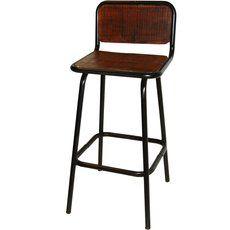 Robutster und Rustikaler Barhocker mit Rückenlehne das recycelte Holz ist natürlich gewachst und in Tischlertradition hergestellt
