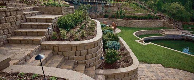 Terraced Anchor™ Diamond Pro Stone Cut® Retaining Wall Combo
