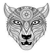 Diseño de arte de línea leopardo para colorear libro para adultos, tatuaje, diseño de la camiseta y así sucesivamente — Vector de stock