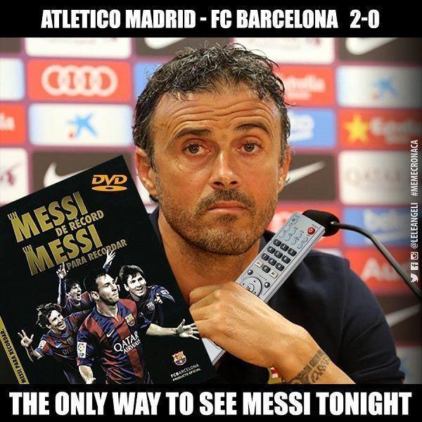 Lionel Messi zaginął w meczu z Atletico Madryt w Lidze mistrzów • Tylko Luis Enrique widział Messiego wieczorem • Śmieszne memy >> #football #soccer #sports #pilkanozna