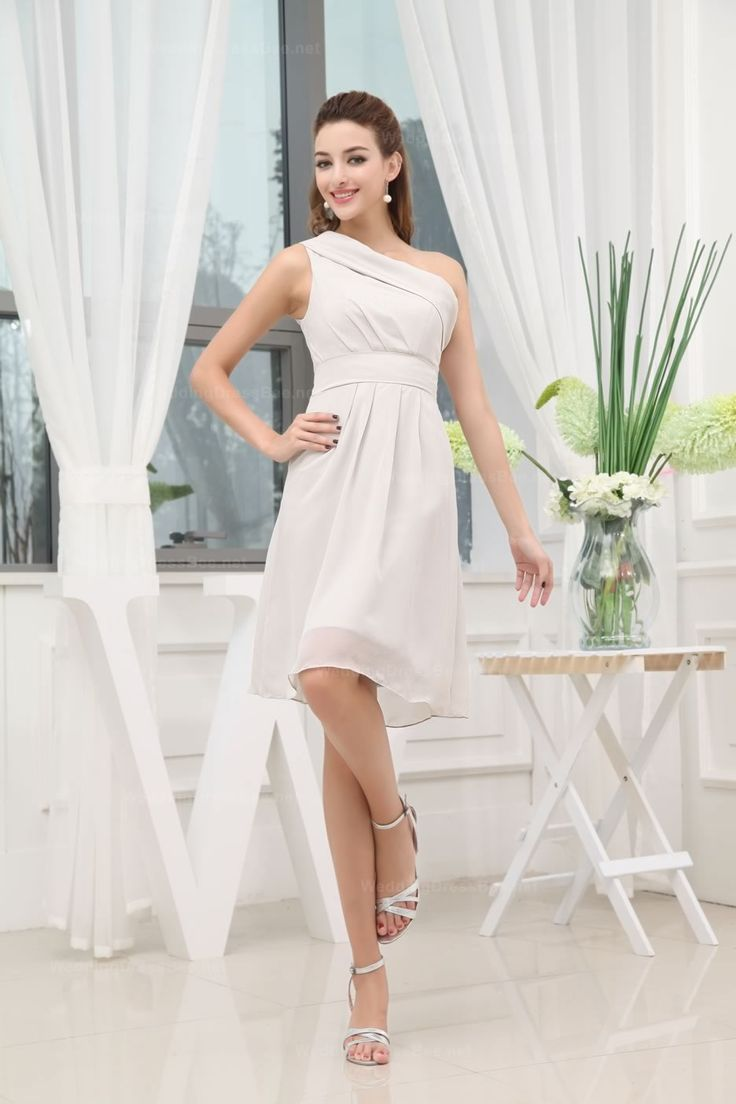 Atria 8000 asymmetrical cutout sleeve cocktail dress by atria 1 1 - Lovely One Shoulder Emppire Waist Knee Length Chiffon Bridesmaid Dress