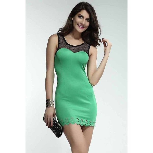 Green Mesh Carved Hem Dress ($27) ❤ liked on Polyvore featuring dresses, green, sexy dresses, bodycon cocktail dress, sexy fitted dresses, sexy bodycon dresses and sexy bandage dresses