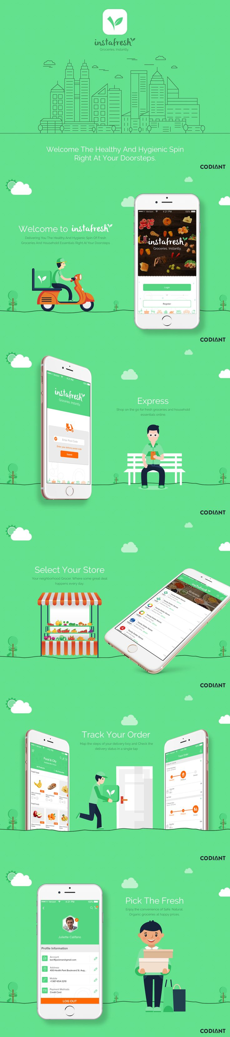 """Check out this @Behance project: """"Grocery delivery application by Codiant Software."""" https://www.behance.net/gallery/47286061/Grocery-delivery-application-by-Codiant-Software"""