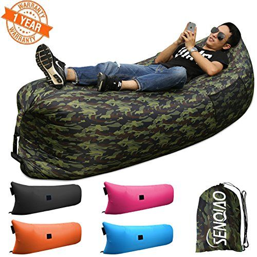 SENQIAO Inflatable Lounger Outdoor or Indoor Air Sleep Sofa Couch Portable Furniture Waterproof Nylon Fabric Sleeping Compression Sacks for Summer Camping Beach >>> A special product just for you. See it now! : Air Lounges