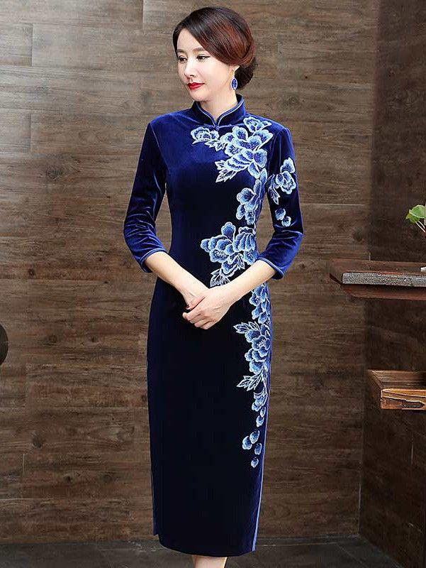 Blue Embroidered Velvet Qipao / Cheongsam Midi Dress