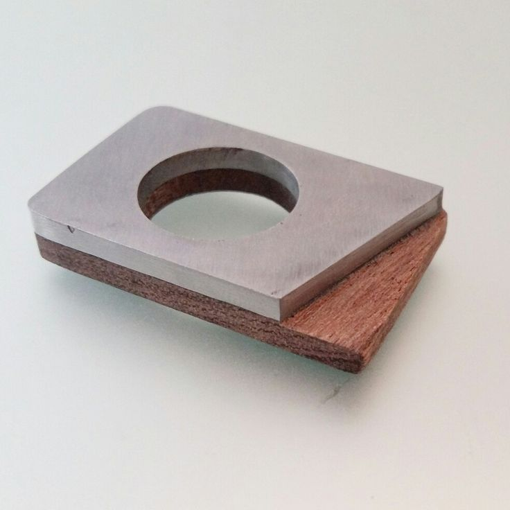 Geometrical ring - stainless steel and wood