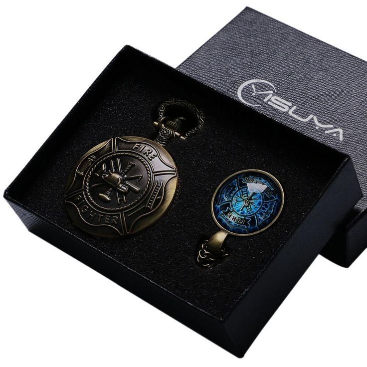 Antique Fire Fighter Control Quartz Pocket Watch Necklace Pendant Pocket Watch Jewelry Sets Gift