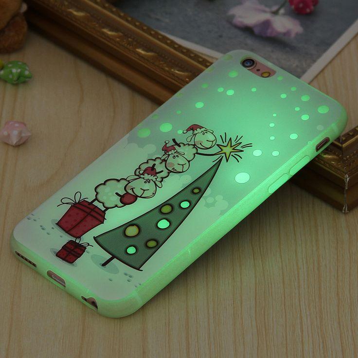 6S 7 Plus Shiny Luminous Christmas Glow in Dark Case For iPhone 6 6S 6 Plus 7 7 Plus Armor Santa Claus Night Light Soft TPUCover