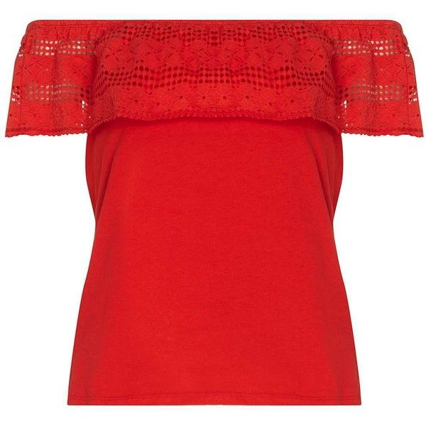 Dorothy Perkins Red Lace Ruffle Bardot Top (160 GTQ) ❤ liked on Polyvore featuring tops, red, flounce tops, lace ruffle top, dorothy perkins, red lace top and lace top