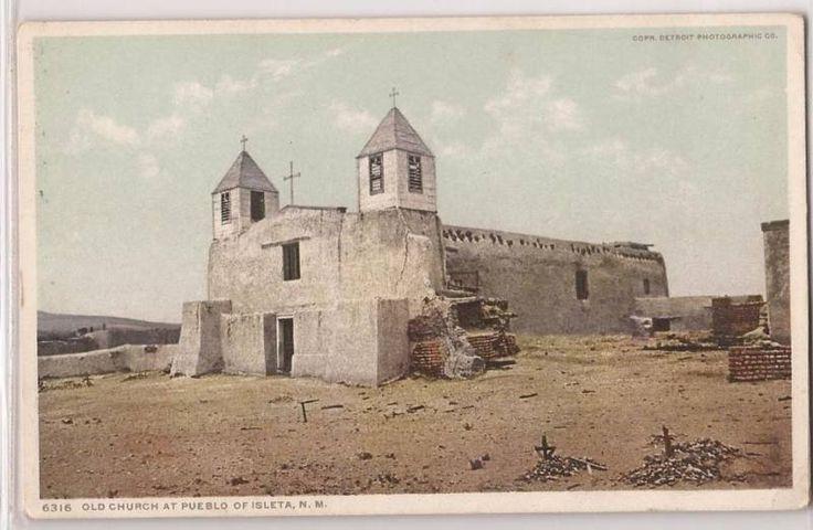 New Mexico Postcard Isleta NM Pueblo Old Church