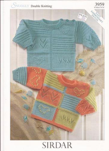 Sirdar Snuggly DK Knitting Pattern 3959 Sweaters w Easy Embroidery Detail NB 6Y | eBay