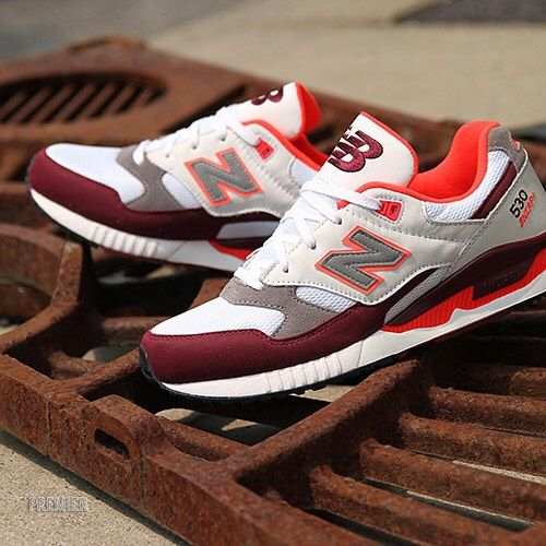 new balance 530 burgundy trainers with gum sole