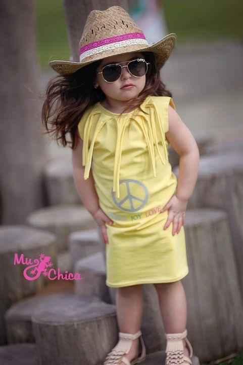 Mu-Chica jurk Peace & Love & Joy! | Jurkjes | Mu-Chica Girlslabel!