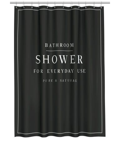 Shower curtain in water-repellent polyester with printed text. Metal grommets at top. Shower curtain rings sold separately.