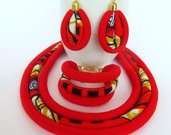 Veelkleurige halsketting / Afrikaanse stof ketting / door nad205