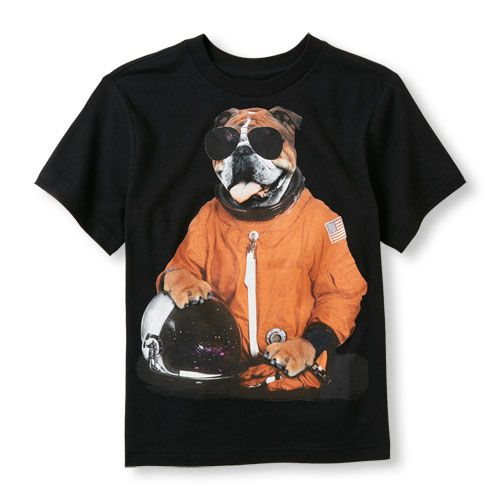 s Boys Short Sleeve Astronaut Dog Graphic Tee - Black T-Shirt - The Children's Place