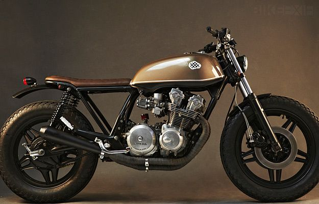 CRD #5 is a 1980 Honda CB750 cafe—a KZ model—and the glossy brown-and-black color scheme works brilliantly.