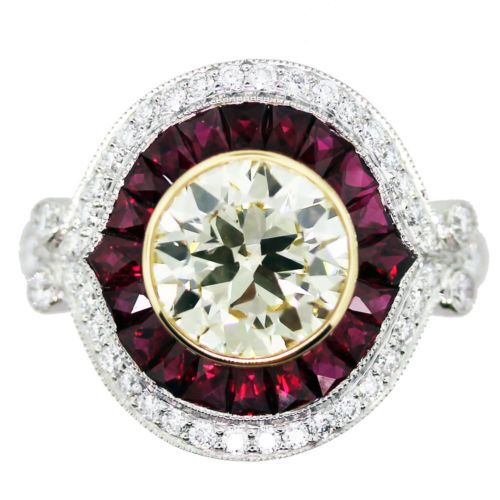 Art Deco Style 2 Ct Light Fancy Yellow Engagement Ring with Rubies and Diamonds | eBay