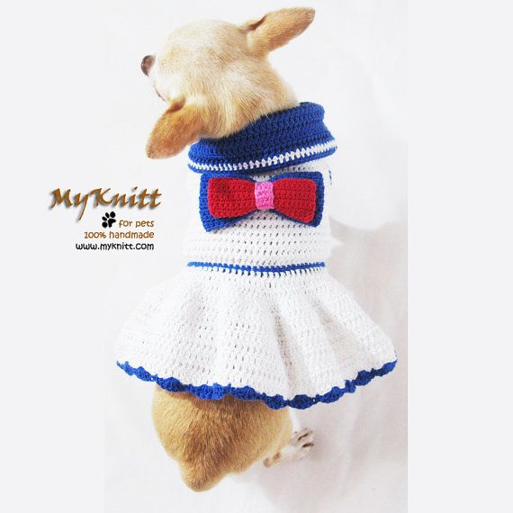 Sailor Dog Dresses Summer Dog Clothing Teacup Chihuahua Clothes Red White and Blue DK957 Myknitt - Free Shipping