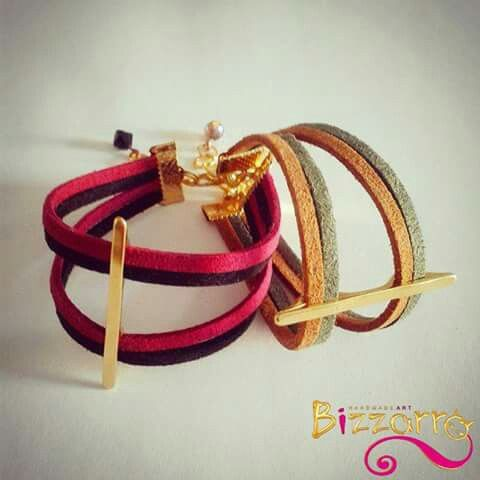 "Bizzarro handmadeart new duo colour ""blade bracelet"" with gold plated cast metal element and suede cord in two different combinations. find more at https://www.facebook.com/Bizzarro.handmade.art/?fref=ts"