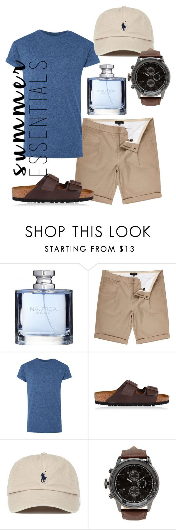 """""""men's summer essentials"""" by beavoight ❤ liked on Polyvore featuring Nautica, River Island, Topman, Birkenstock, Forever 21, men's fashion, menswear and summermenswearessentials"""
