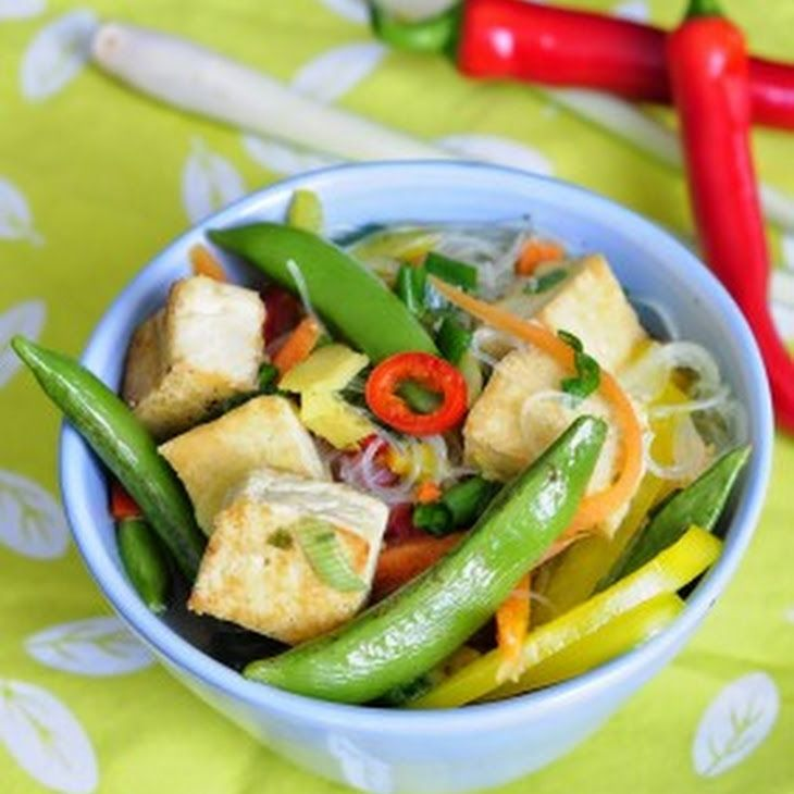 Asian Spring Vegetable Soup with Tofu Recipe Soups with fresh ginger, large garlic cloves, cayenne pepper, lemongrass, vegetable broth, red bell pepper, yellow bell pepper, carrots, sugar pea, glass noodles, scallions, olive oil, firm tofu, salt, pepper