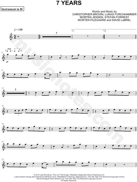 Print and download 7 Years - Bb Instrument sheet music by Lukas Graham arranged for Baritone Horn or Euphonium or Clarinet or Trumpet or Soprano Saxophone or Tenor Saxophone. Instrumental Part, and Instrumental Solo in A Minor.