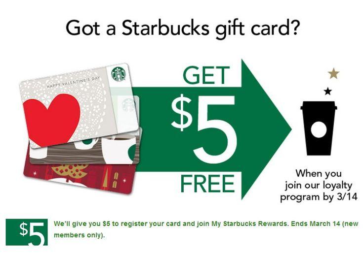 Free 5 for starbucks gift card holders new members