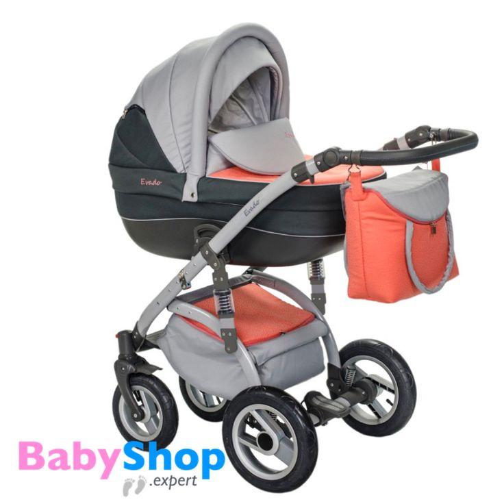 Kinderwagen Evado 3in1: Babywanne, Buggy, Autositz - grau + orange  http://www.babyshop.expert/Kinderwagen-Evado-3in1-Babywanne-Buggy-Autositz_8  #babyshopexpert #kombikinderwagen #kinderwagen