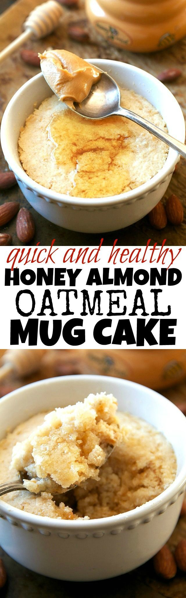 This healthy Honey Almond Oatmeal Mug Cake is made with NO flour, butter, or oil, but so soft and fluffy that you'd never be able to tell! | runningwithspoons... #recipe #glutenfree #dessert