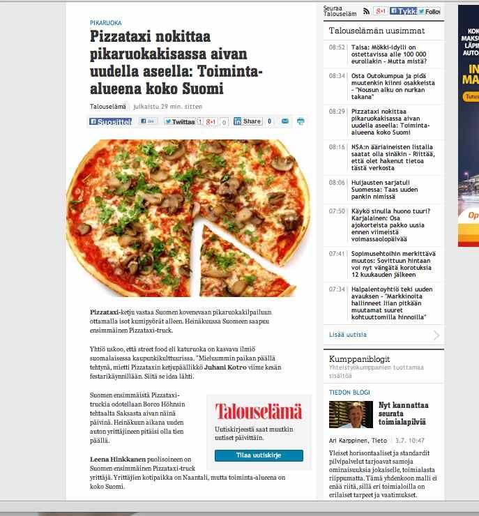 Pizzataxi-truck saapui kesällä Suomeen.