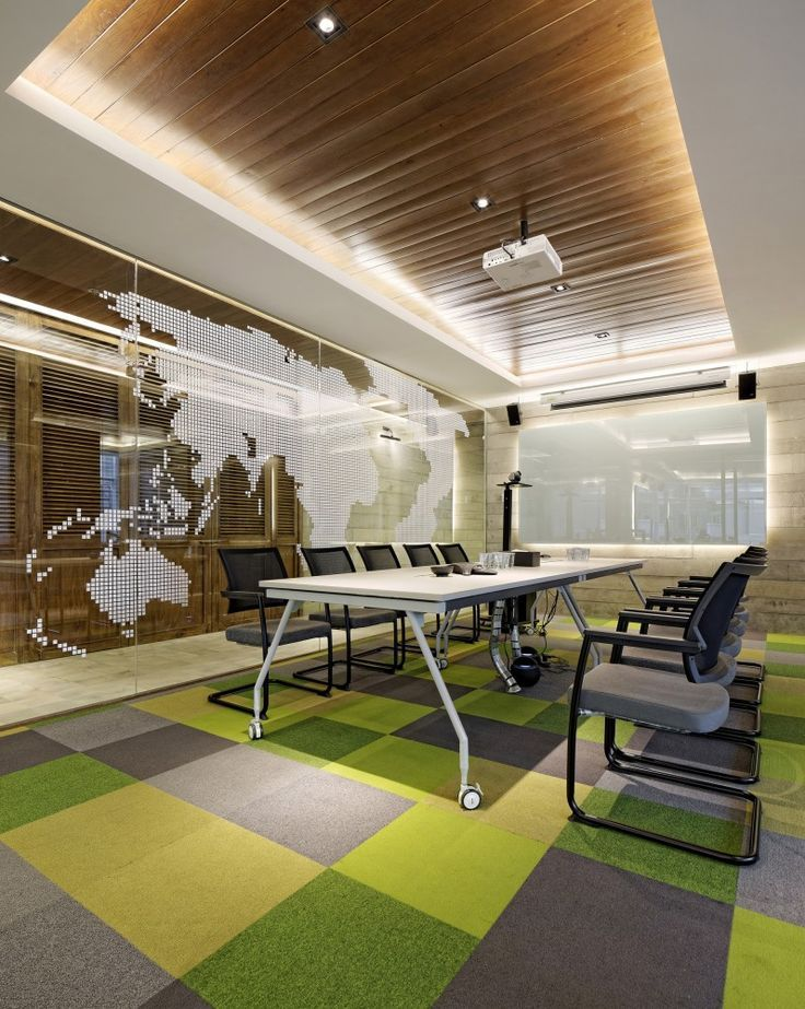 Modular Square Rugs to add color to a #boardroom.