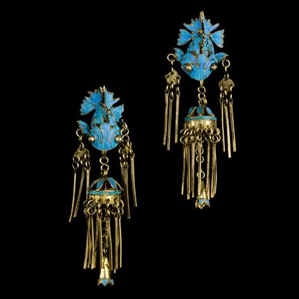 A Pair Of Kingfisher Feather Drop Earrings, Chinese Qing Dynasty  19th Century SOLD