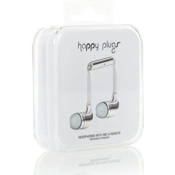 Happy Plugs In-Ear Deluxe Earphones (£25) ❤ liked on Polyvore featuring accessories, tech accessories, silver, earphones earbuds and happy plugs