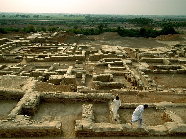 Mohenjo Daro, Pakistan - The Indus Valley civilization was entirely unknown until 1921, when excavations in what would become Pakistan revealed the cities of Harappa and Mohenjo Daro (shown here).  This mysterious culture emerged nearly 4,500 years ago and thrived for a thousand years, profiting from the highly fertile lands of the Indus River floodplain and trade with the civilizations of nearby Mesopotamia.