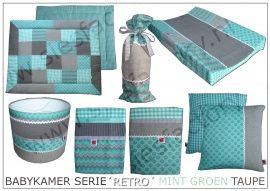 Babykamer aankleding 'Retro' in mint groen, taupe wafeldoek en linnen | Complete SERIES! | Sies Factory