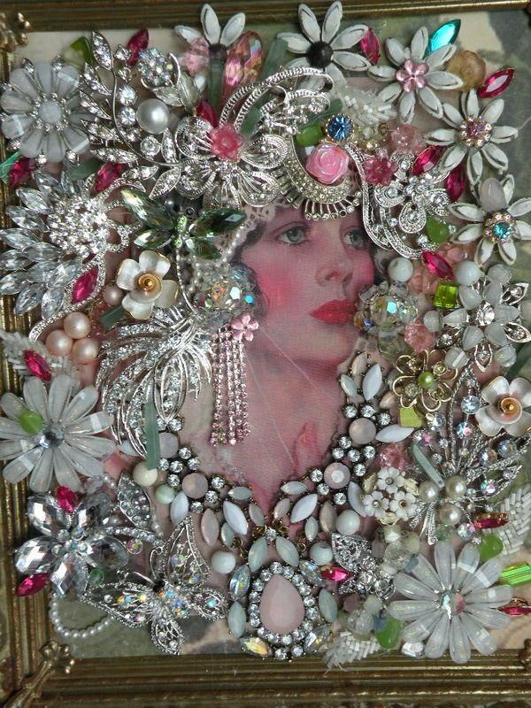 Vtg Framed Art Jewelry Victorian Lady in Vtg Ornate Metal Frame 10 5 034 x 12 034 | eBay