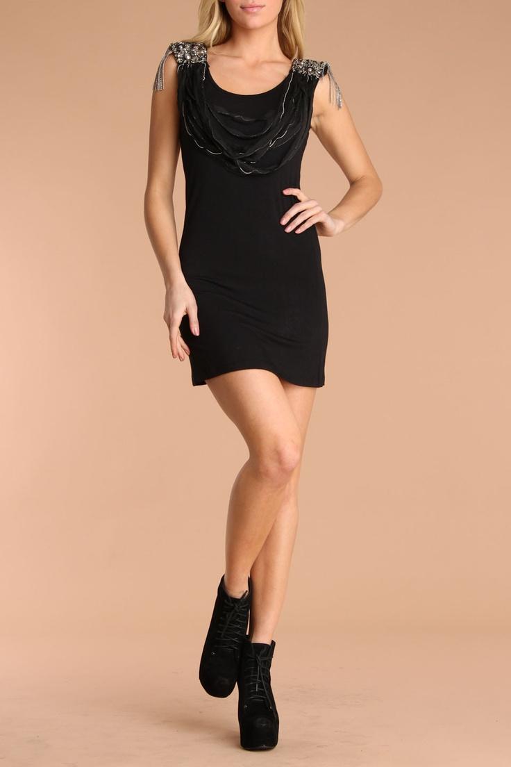 6126 by Lindsay Lohan Jewel Tunic In Black - Beyond the Rack