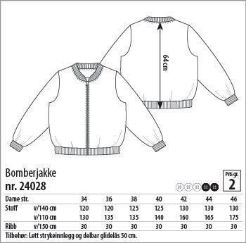 Bomberjakke str. 34 - STOFF & STIL