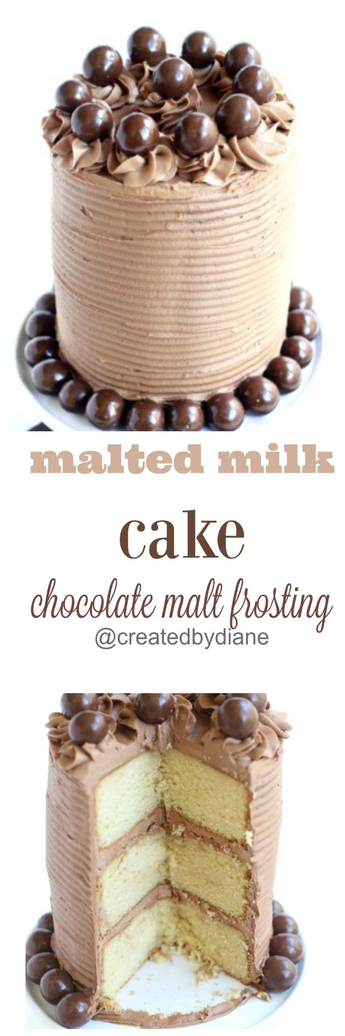 Malted milk cake topped with Chocolate Malt Frosting, this cake is moist and delicious and will soon be a favorite for everyone.