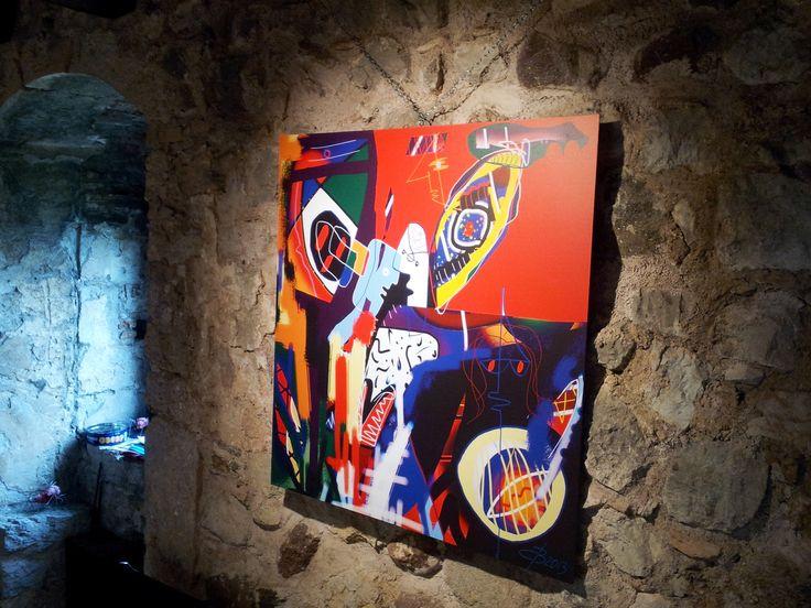 digital painting by #BUCA su alucobond 100 x 100 esposta nella sala superiore del Castello