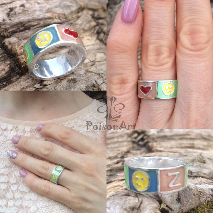 Updated ring 😜 Fanny enamel silver ring ❤️😐😏Z🙂😕 Has the mood changed? Turn the ring! Or vice versa 😜 available  #авторскиеукрашения #водномэкземпляре #silver999 #artclaysilver #silverring #ooakring #ACR_YuliaKorovina #enamelring