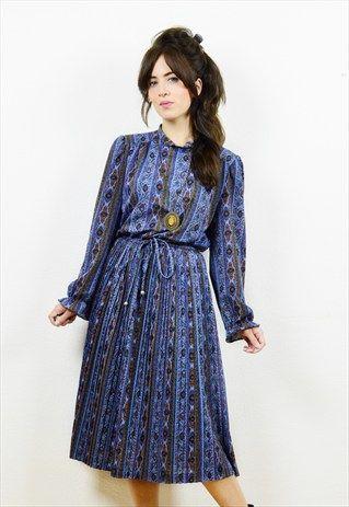 80s+blue+boho+print+long+sleeved+midi+dress